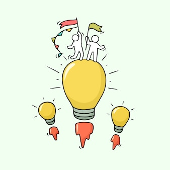 Cartoon petites personnes avec l'idée de lampe volante.
