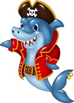 Cartoon pirate requin présentant