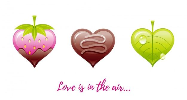 Cartoon salutations de la saint-valentin avec des icônes de la saint-valentin - fraise à fondue, bonbons au chocolat, feuille de coeur.