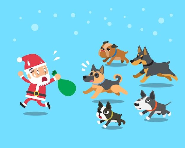Cartoon santa claus avec des chiens