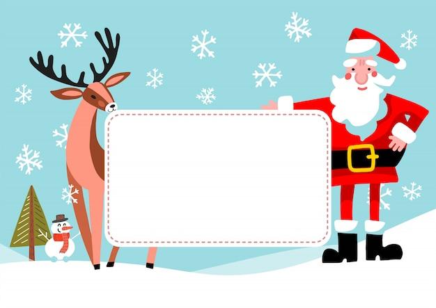 Cartoon santa claus et rennes avec bannière vide. conception de cartes de souhaits vintage de noël