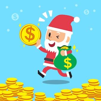 Cartoon santa claus avec sac d'argent