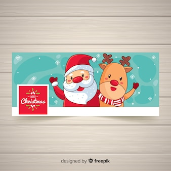 Cartoon santa facebook cover