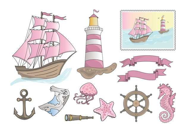 Cartoon sea clipart couleur vector illustration set