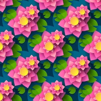 Cartoon seamless lotus background pour la conception d'impression.