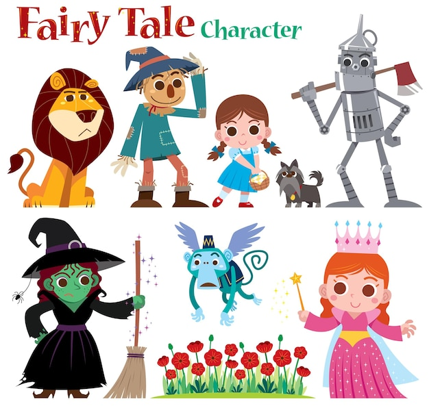 Cartoon set personnages de contes de fées