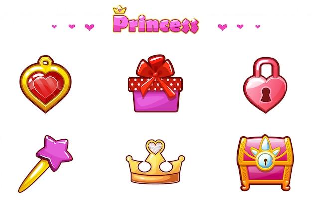 Cartoon set princess icons, atouts de jeu de fille