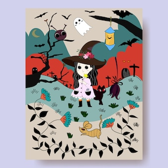Cartoon de sorcière mignon et nuit d'halloween