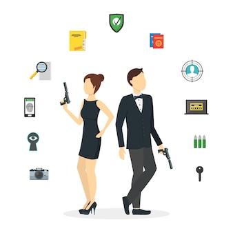 Cartoon spy couple et icons set agents avec guns detective and protect service.