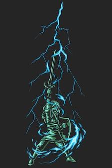 Cartoon superhero thunder sword
