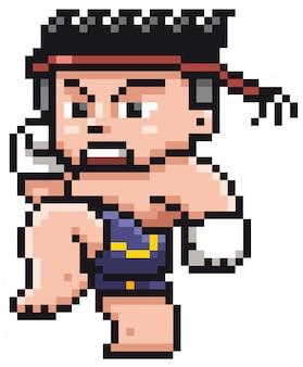 Cartoon thai boxing - pixel design