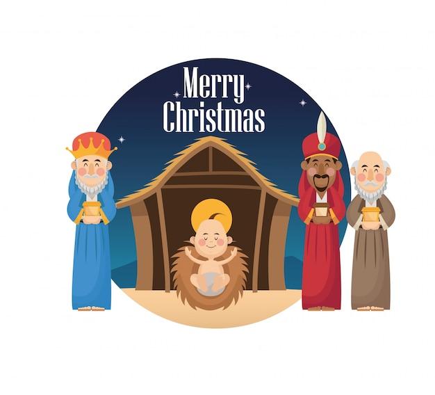 Cartoon de trois sages hommes avec icône cadeau et bébé jésus