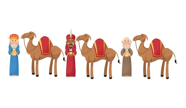 Cartoon de trois sages hommes avec icône de cadeaux et de chameaux