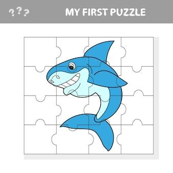 Cartoon vector illustration of education jigsaw puzzle game pour les enfants d'âge préscolaire avec funny shark fish animal character - mon premier puzzle