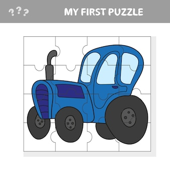 Cartoon vector illustration of education puzzle game for preschool children with funny tractor machine character - mon premier puzzle
