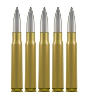Cartouches de munitions. boîtiers en laiton avec une balle d'argent à l'intérieur.