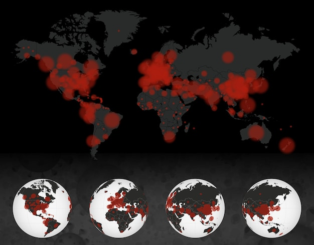 Cas de coronavirus sur la carte du monde sombre. globe terrestre avec cas de maladie covid-19. 4 côté de la terre.