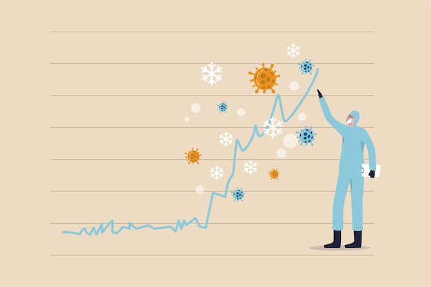 Les cas de coronavirus covid-19 augmentent pendant les vacances d'hiver ou le concept de saison du froid et de la fièvre, le personnel de première ligne médical debout avec le graphique ou le graphique des cas de covid-19 avec la neige hivernale et le virus.