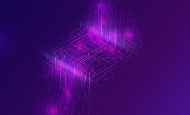 Cascade de big data, flux de code binaire numérique