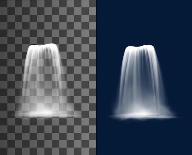Cascade de cascade, ruisseau de chute d'eau réaliste, fontaine vectorielle en cascade des éléments de conception 3d naturels. jet tombant pur avec brouillard, chute d'eau tombante, streaming isolé sur fond transparent ou bleu