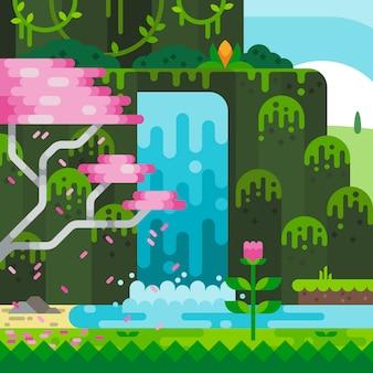Cascade de dessin animé dans la forêt