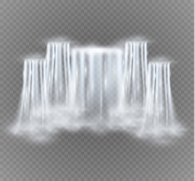 Cascade isolée sur fond transparent