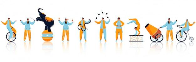 Cascadeurs de cirque ou personnages masculins jouant dans différents types avec éléphant.