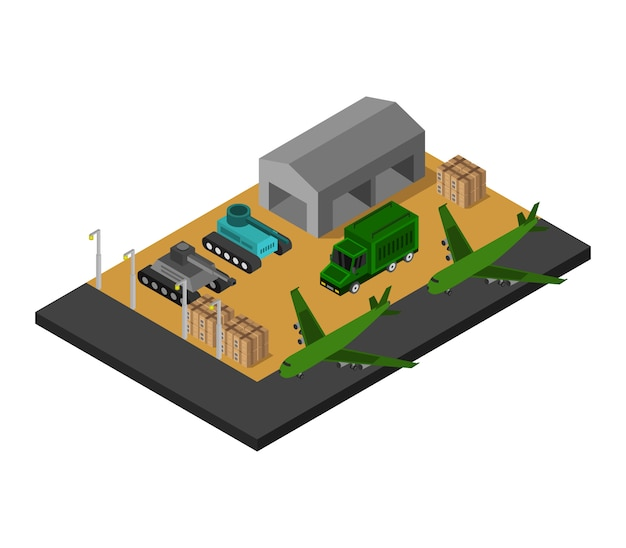 Caserne militaire isométrique