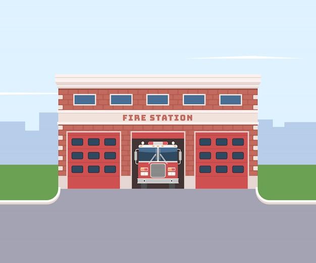 Caserne de pompiers avec un camion de pompiers