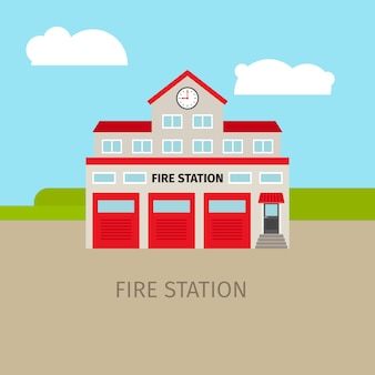 Caserne de pompiers colorée