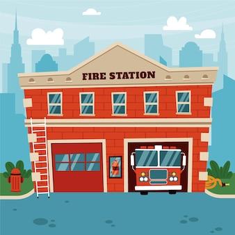 Caserne de pompiers design plat dessiné à la main