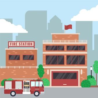 Caserne de pompiers design plat