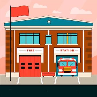 Caserne de pompiers dessinée à la main
