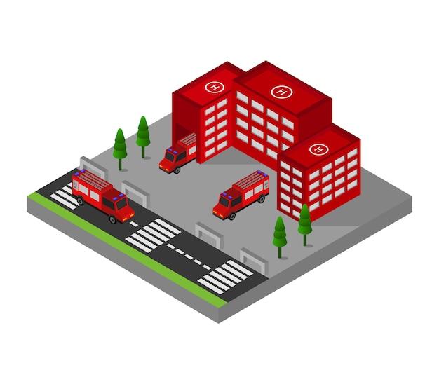 Caserne de pompiers isométrique