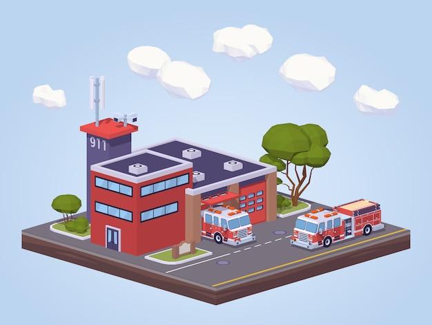 Caserne de pompiers low poly