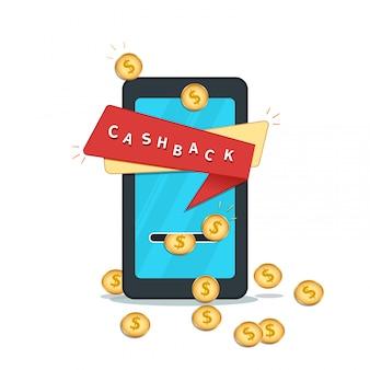 Cashback via application mobile, bannière. paiement en ligne, offre cadeau shopping.