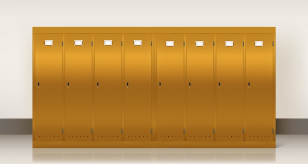 Casiers dorés, vestiaire d'école ou de gym