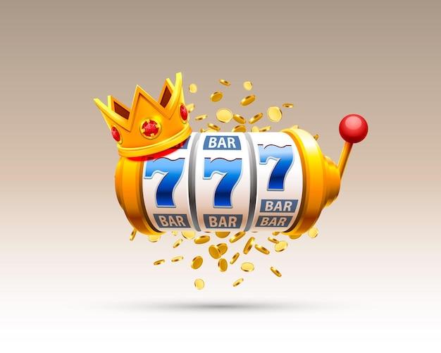 Casino de bannière king slots 777 sur fond blanc. illustration vectorielle