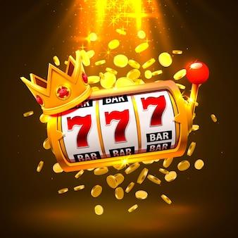 Casino de bannière king slots 777 sur le fond doré. illustration vectorielle