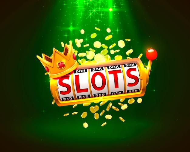 Casino de bannière king slots 777 sur fond vert. illustration vectorielle