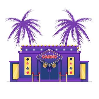 Casino, bâtiment, plat, palmiers, fond