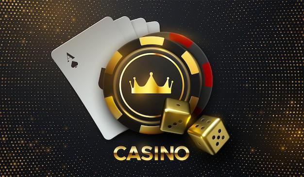 Casino chante des cartes à jouer et des jetons de jeu avec une couronne dorée et des dés avec des paillettes éclatantes