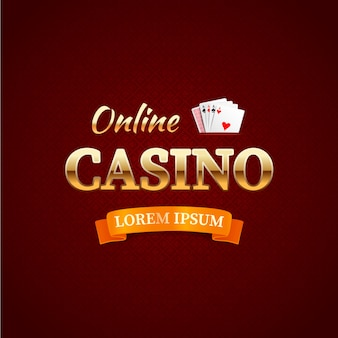 Casino - concept de logotype, conception de typographie de casino en ligne, cartes de jeu avec le texte en or sur rouge foncé