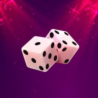 Dés de casino sur fond blanc, modèle d'élément de conception. illustration vectorielle