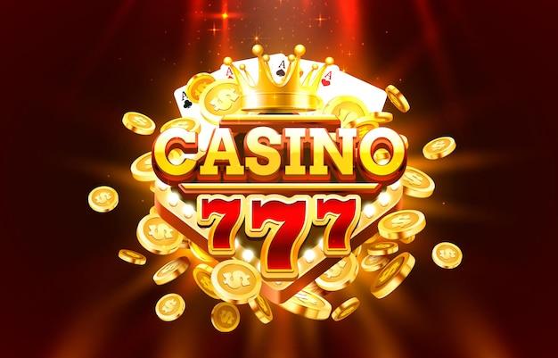 Casino free spin 777 label frame, bannière dorée, gagnant de la frontière, jeu vegas.
