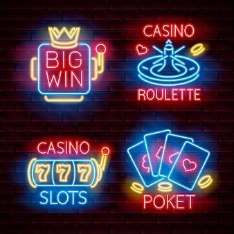 Casino gros gain, poker, roulette, 777 machines à sous étiquette néon. sur un fond sombre. illustration vectorielle