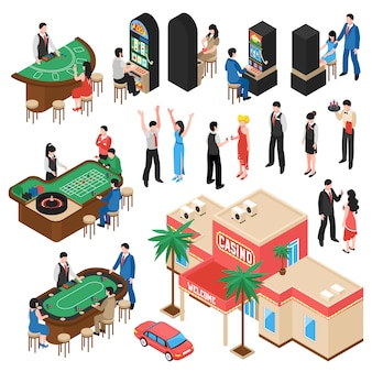 Casino isometric s set