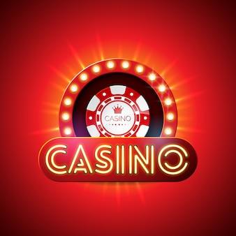 Casino avec une lettre de lumière au néon et jouer des jetons