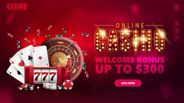Casino en ligne, bannière pour site web avec éléments d'interface, symbole avec ampoules dorées, machine à sous, roulette de casino, jetons de poker et cartes à jouer.