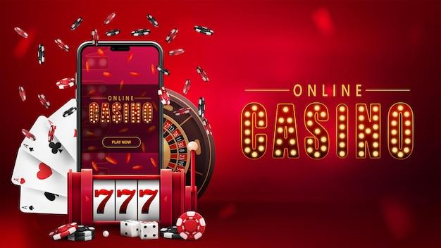 Casino en ligne, bannière rouge avec smartphone, machine à sous rouge, roulette de casino, jetons de poker et cartes à jouer.
